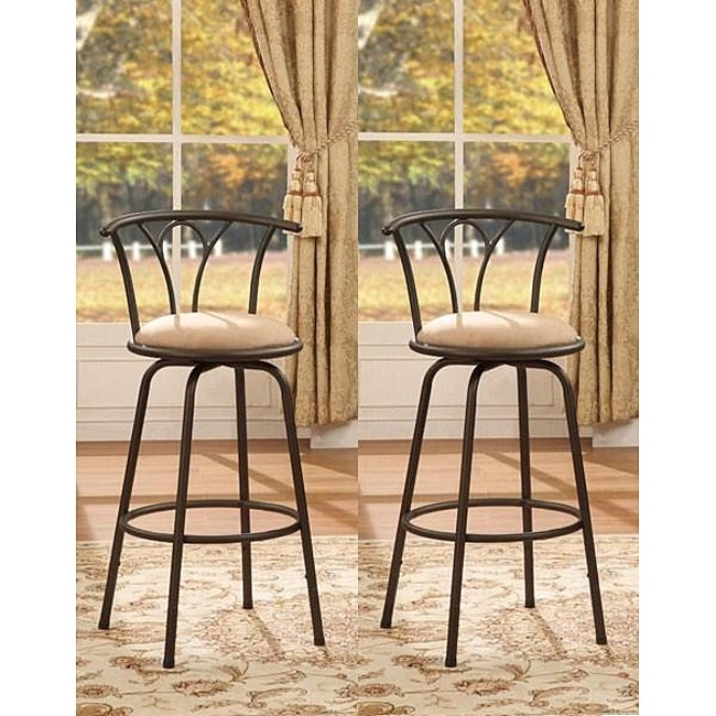 Bronze Finish Adjustable Metal Swivel Counter Height Bar Stools intended for Bronze Bar Stools