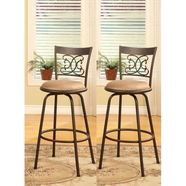 Bronze Finish Scroll Back Adjustable Metal Swivel Counter Height throughout Bar Stool Sets Of 2