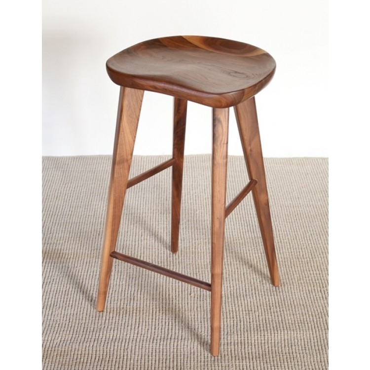 Bs49 Walnut Bar Stool With Tapered Legs 6 throughout Walnut Bar Stools