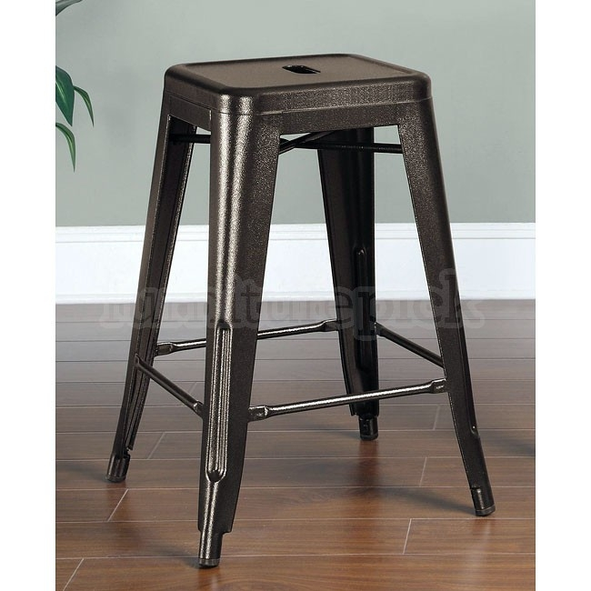Burnished Bronze 24 Inch Metal Bar Stool Set Of 2 Coaster within 24 Inch Metal Bar Stools