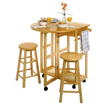 Buy Winsome 89332 Space Saver Drop Leaf Breakfast Bar With Stools throughout breakfast bar with stools for Property