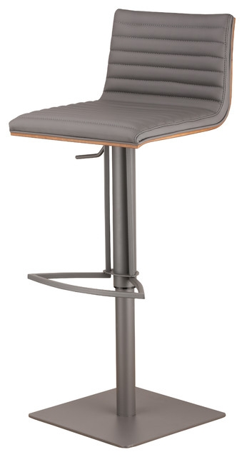 Cafe Adjustable Gray Metal Barstool In Gray Pu With Walnut Back with Adjustable Bar Stools With Backs