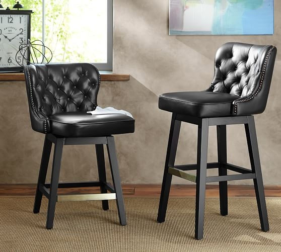 Caldwell Tufted Leather Swivel Barstool Pottery Barn throughout Leather Bar Stools Swivel
