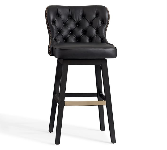 Caldwell Tufted Leather Swivel Barstool Pottery Barn within Tufted Bar Stools