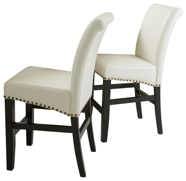 Carmen Leather Stools Set Of 2 Ivory Counter Height Bar Stools regarding bar stool counter height for Found Household