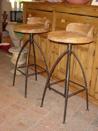 Carved Wood And Iron Bar Stools Crt9604 For Sale Antiques throughout wood and iron bar stools with regard to Your home