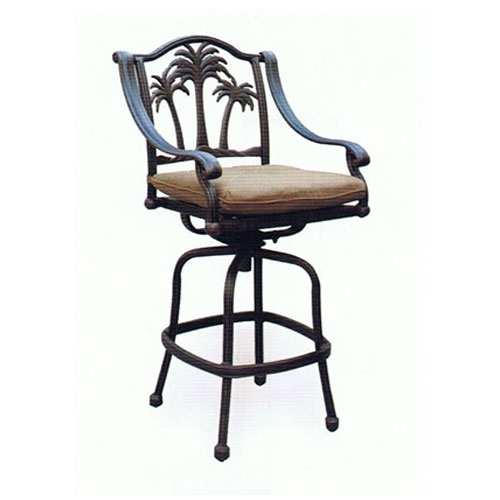 Cast Aluminum Outdoor Patio Swivel Palm Tree Bar Stool throughout Swivel Outdoor Bar Stools