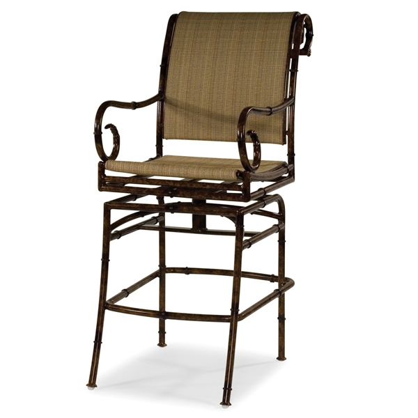 Cast Aluminum Outdoor Patio Swivel Palm Tree Bar Stool Throughout with regard to Outdoor Patio Bar Stools