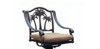 Cast Aluminum Outdoor Patio Swivel Palm Tree Bar Stool within outdoor swivel bar stools pertaining to Inviting