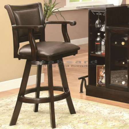 Casual Upholstered Brown 29quoth Bar Stool 102576 with regard to 29 Bar Stools