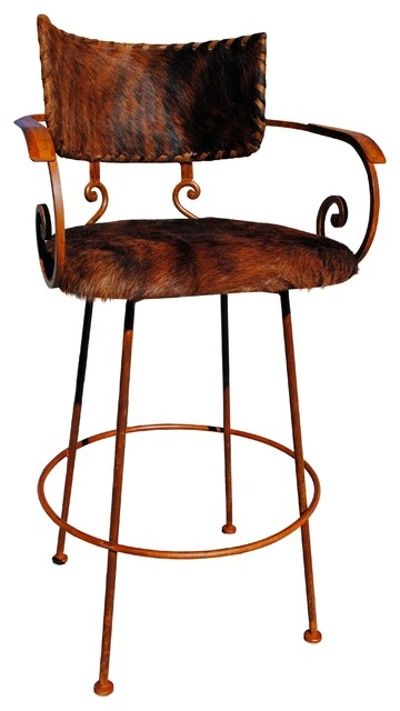 Chamizal Wrought Iron Bar Stool Cowhide Southwestern Bar with Cowhide Bar Stools