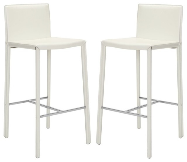 Chic White Leather Bar Stool White Leather Bar Stools Foter in Modern White Bar Stools