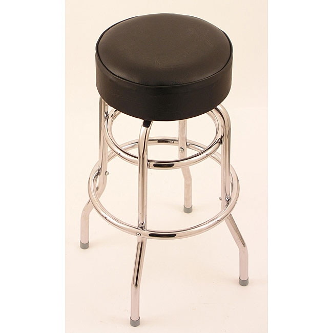 Chrome Double Ring 25 Inch Backless Counter Swivel Stool With inside 25 Inch Bar Stools