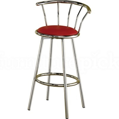 Chrome Swivel Bar Stool W Red Seat Set Of 2 Coaster Furniture in Red Swivel Bar Stools