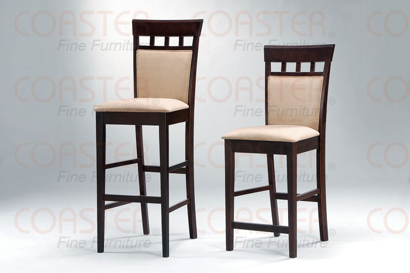 Coaster Set Of 2 Der Cushion Back Bar Stools 100219 Fss with regard to 30 Inch Bar Stools With Back