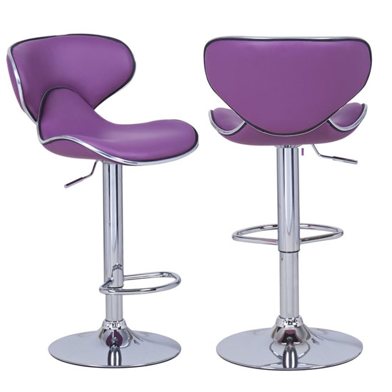 Comfort And Style Meets At Adeco Purple Cushioned Leatherette regarding purple bar stools for Cozy
