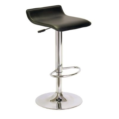 Contemporary Abs Air Lift Swivel Bar Stool In Black Faux Leather pertaining to Faux Leather Bar Stools