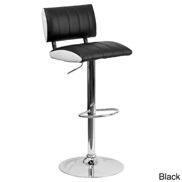 Contemporary Black And White Vinyl Adjustable Bar Stool Set Of 2 in Black And White Bar Stools