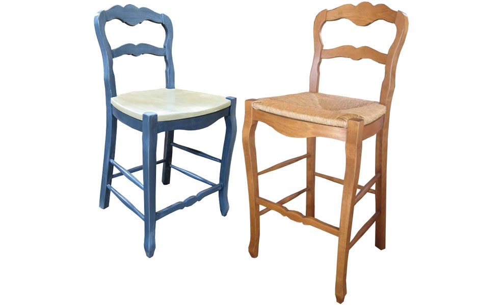 Country French Ladderback Barstool Country French Ladderback for ladder back bar stools intended for  House