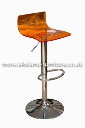 Crystal Transparent Orange Bar Stool Acrylic Breakfast Bar Stools for Orange Bar Stool