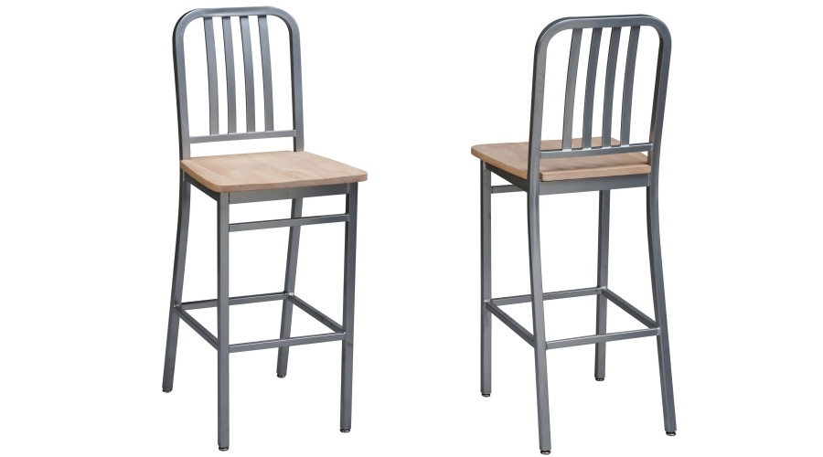 Deco Steel Bar Stool With Wood Seat Detail in Steel Bar Stools