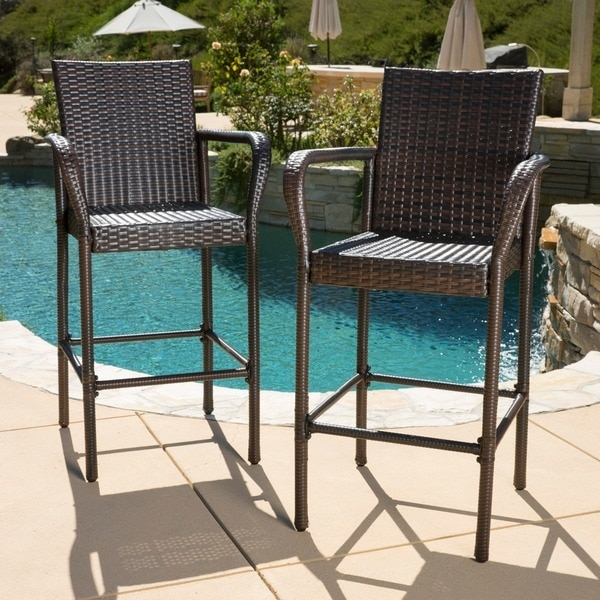 Delfina Outdoor Wicker Bar Stool Set Of 2 Christopher Knight pertaining to Outdoor Wicker Bar Stools