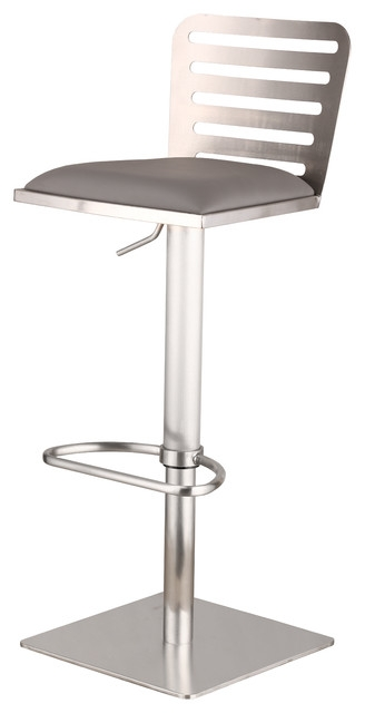 Delmar Adjustable Brushed Stainless Steel Barstool In Gray Pu for stainless bar stools with regard to Inviting