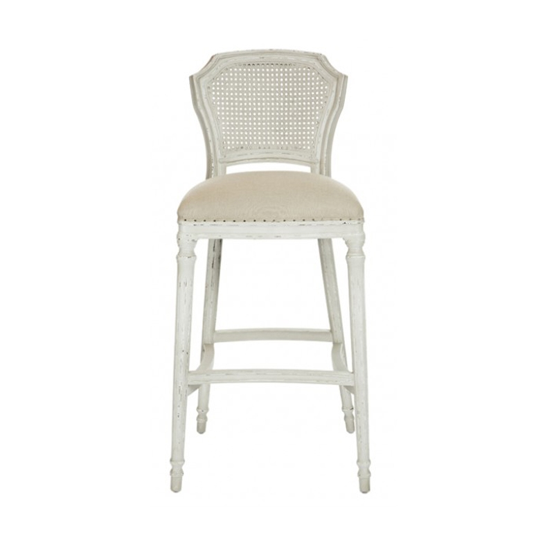 Distressed Cane Back Bar Stools in White Bar Stools With Backs