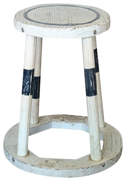 Distressed Wood Stool Beach Style Bar Stools And Counter throughout The Brilliant as well as Lovely nautical bar stools for Warm