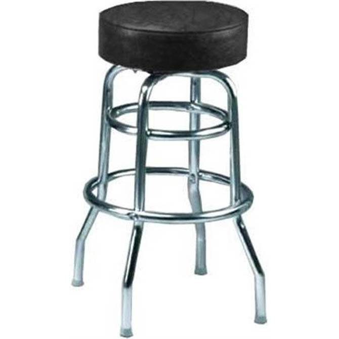 Double Ring Swivel Bar Stool With Chrome Base And Black Vinyl Seat intended for The Most Stylish  bar stool base with regard to Your house