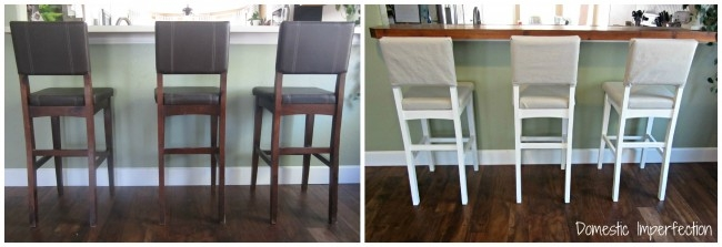 Drop Cloth Barstool Makeover Domestic Imperfection for Craigslist Bar Stools