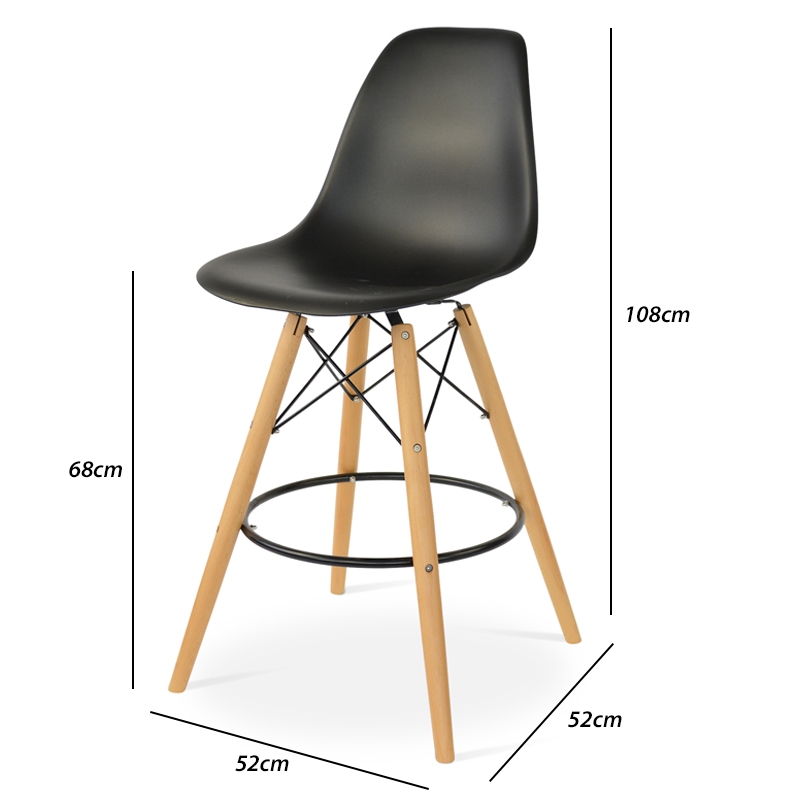 Eames Dsw Barstool Black Popfurniture regarding Eames Bar Stool