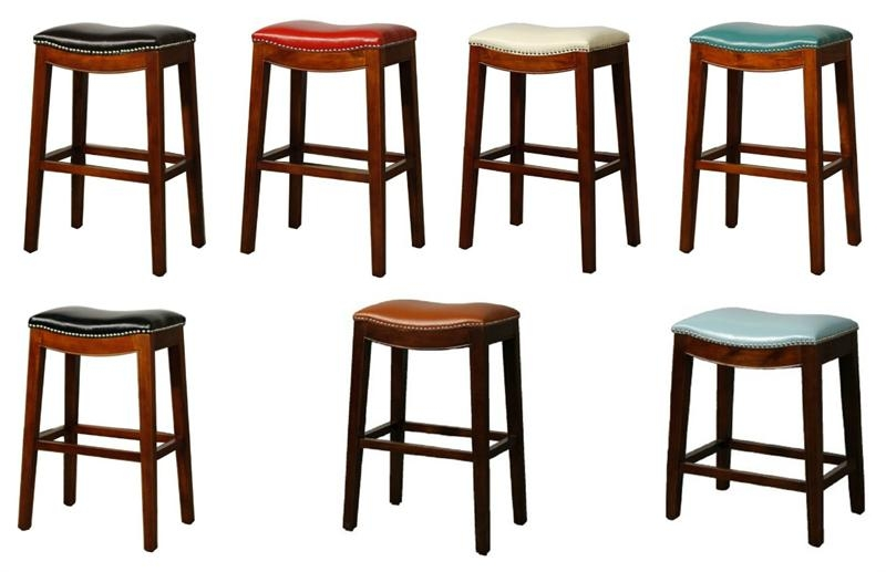 Elmo Bounded Leather Counter Stool within Backless Counter Height Bar Stools