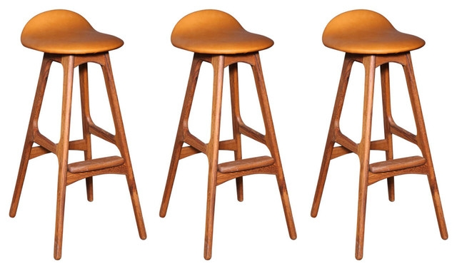 Erik Buck Od61 Leather Bar Stools Set Of 3 Modern Bar Stools pertaining to 3 bar stools with regard to Residence