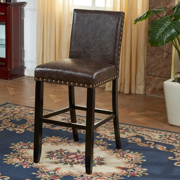 Espresso Faux Leather Barstool With Nail Head 15747833 regarding faux leather bar stools regarding Your own home