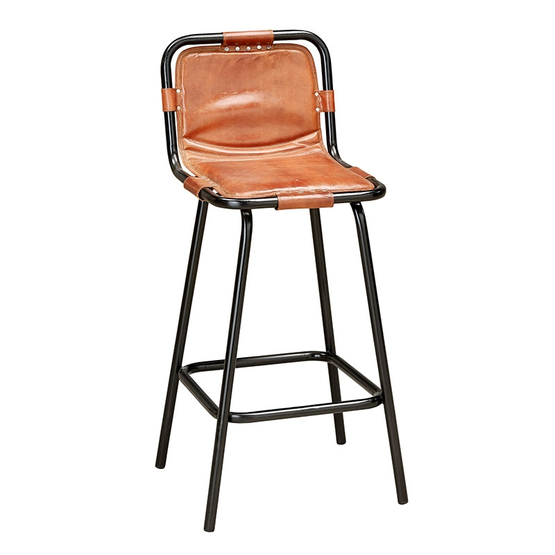 Factory Bar Stool In Leather Andy Thornton throughout metal and leather bar stools regarding Really encourage