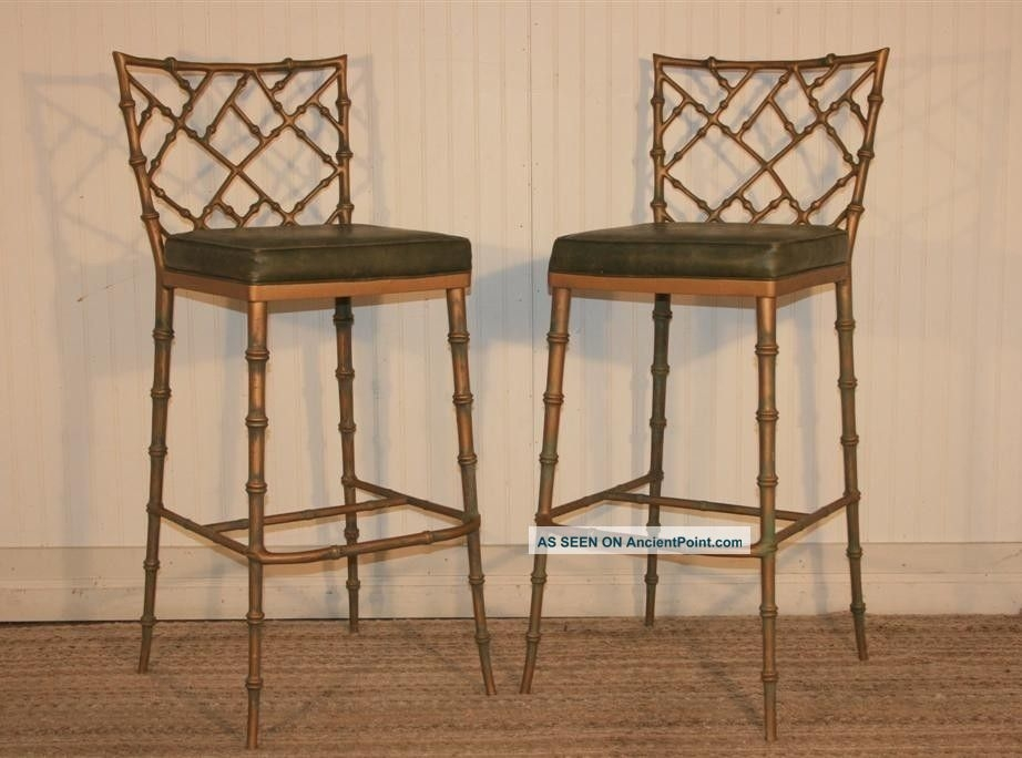 Faux Bamboo Metal Bar Stools And Hollywood Regency On Pinterest inside Bamboo Bar Stools