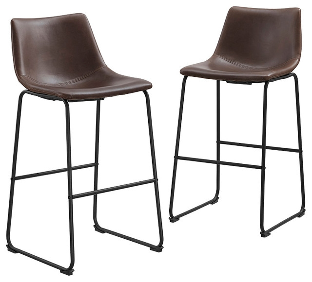 Faux Leather Barstools Set Of 2 Bar Stools And Counter Stools intended for Set Of 2 Bar Stools