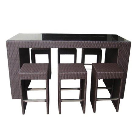 Fitness Goods7pc Rattan Wicker Bar Stool Dining Table Set Black pertaining to Bar Stool And Table Set