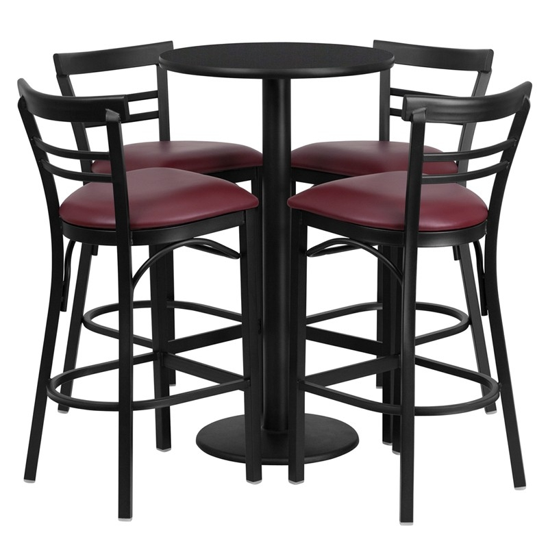 Flash Furniture 243939 Round Black Laminate Table Set With 4 Ladder with regard to Bar Stool And Table Set