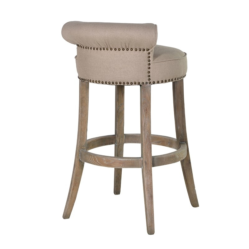 Flavian Linen Buttoned Bar Stool Bar Stools Stools And Coaches within Linen Bar Stools