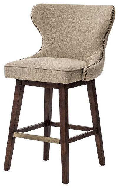 Four Hands Metro Julie Swivel Barstool Hyde Clay Bar Height in Swivel Bar Stools
