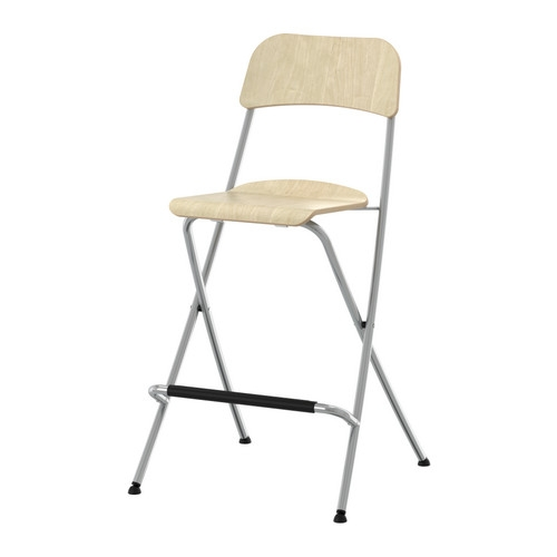 Franklin Bar Stool With Backrest Foldable Birch Veneersilver inside ikea folding bar stool for Household