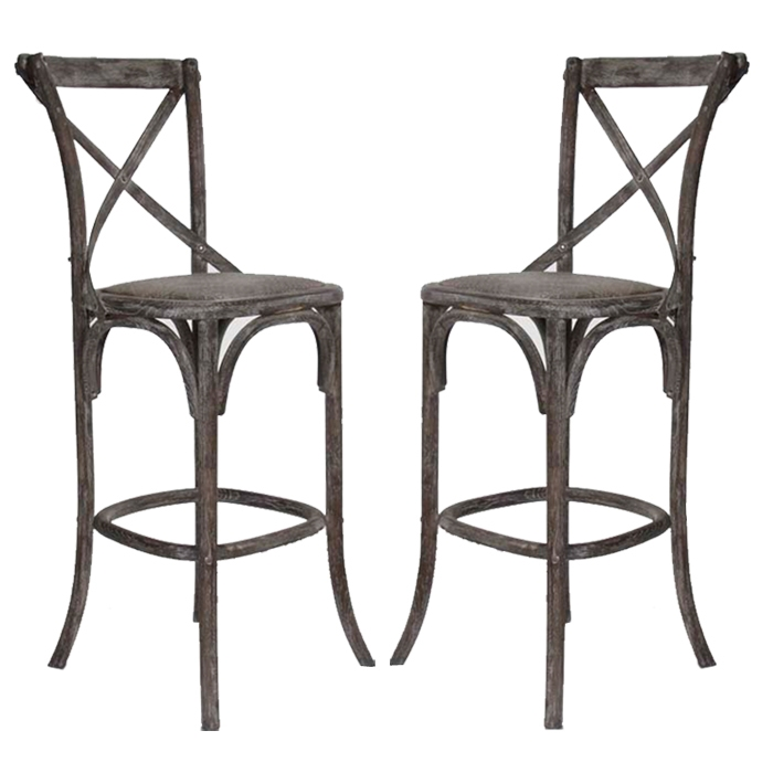 French Cafe Bar Stools Pair Limed Charcoal Oak Finish inside Awesome in addition to Lovely french bistro bar stools pertaining to Your own home