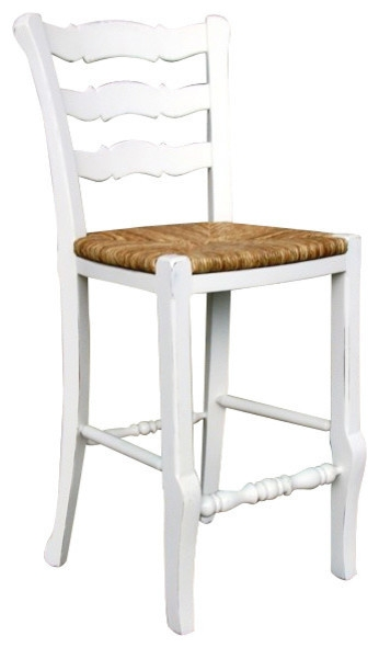 French Country Ladder Back Counter Stool White Farmhouse Bar with regard to Ladder Back Bar Stools