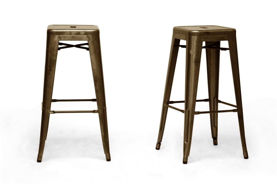 French Industrial Modern Bar Stool In Bronze pertaining to Bronze Bar Stools