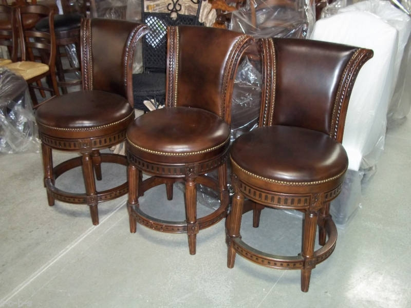 Frontgate Manchester Wood Counter Leather Barstools Stools Bar inside Manchester Swivel Bar Stool