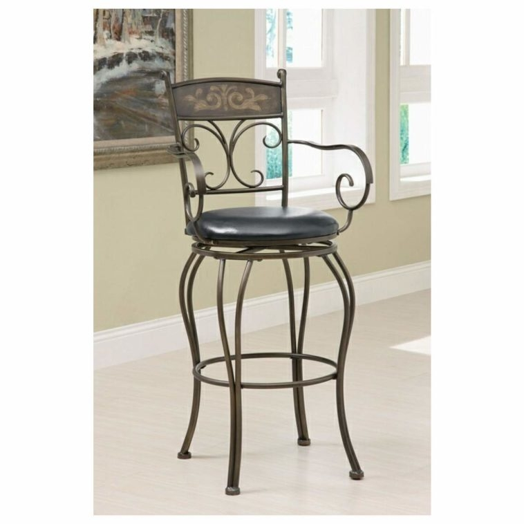 Furniture Wrought Iron Stool With Carved Back And Arms Using with swivel bar stools without backs intended for Motivate