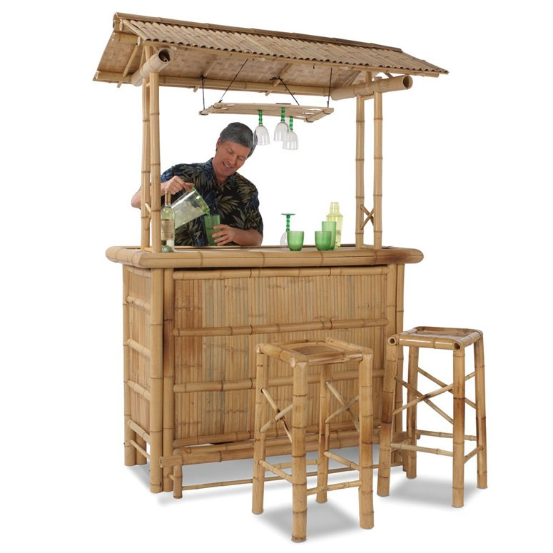 Genuine Bamboo Tiki Bar The Green Head with Bamboo Tiki Bar Set With 2 Stools