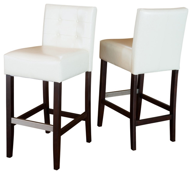 Gregory Ivory Leather Back Stool Set Of 2 Ivory Bar Height within leather bar stools with back for Desire